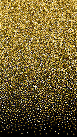 Gold glitter luxury sparkling confetti. Scattered small gold particles on black background. Excellent festive overlay template. Ravishing vector background.
