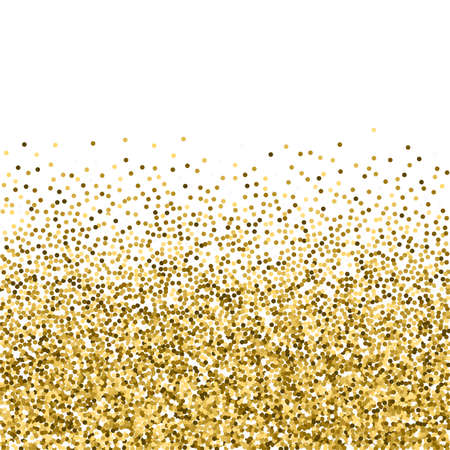 Round gold glitter luxury sparkling confetti. Scattered small gold particles on white background. Amazing festive overlay template. Precious vector illustration. Ilustracja