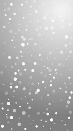 White dots Christmas background. Subtle flying snow flakes and stars on grey background. Amazing winter silver snowflake overlay template. Cute vertical illustration. Illusztráció
