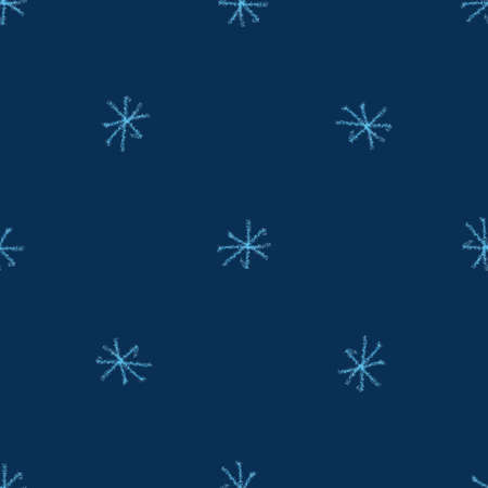 Hand Drawn blue Snowflakes Christmas Seamless Pattern. Subtle Flying Snow Flakes on dark blue Background. Classy chalk handdrawn snow overlay. Magnificent holiday season decoration.