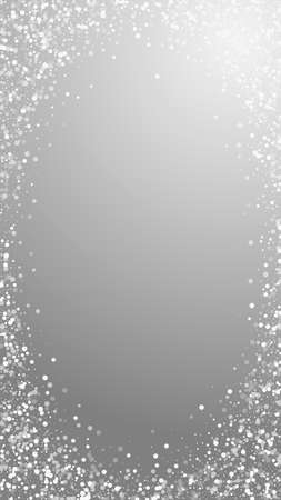 Random white dots Christmas background. Subtle flying snow flakes and stars on grey background. Admirable winter silver snowflake overlay template. Amazing vertical illustration.