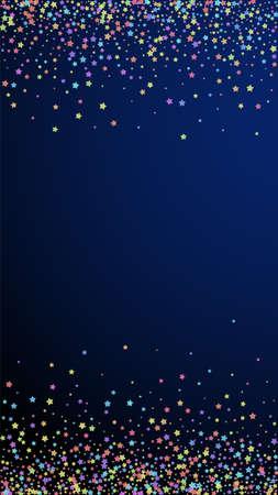 Festive surprising confetti. Celebration stars. Colorful stars dense on dark blue background. Fetching festive overlay template. Vertical vector background.