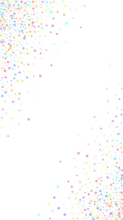 Festive grand confetti. Celebration stars. Colorful stars dense on white background. Fine festive overlay template. Vertical vector background.