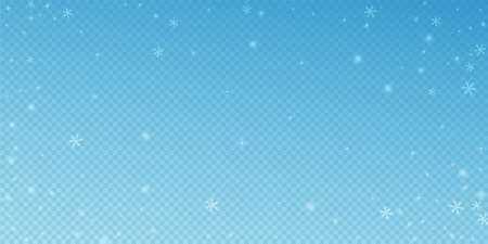 Sparse glowing snow Christmas background. Subtle flying snow flakes and stars on transparent blue background. Alive winter silver snowflake overlay template. Gorgeous vector illustration.