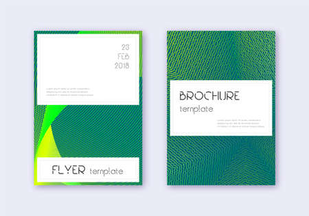 Stylish cover design template set. Green abstract lines on dark background. Favorable cover design. Resplendent catalog, poster, book template etc.
