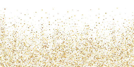 Gold confetti luxury sparkling confetti. Scattered small gold particles on white background. Beautiful festive overlay template. Imaginative vector illustration.