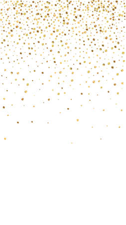 Festive magnificent confetti. Celebration stars. Gold confetti on white background. Great festive overlay template. Vertical vector background.