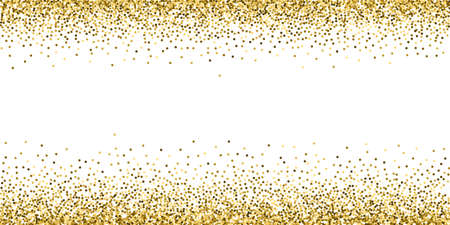 Round gold glitter luxury sparkling confetti. Scattered small gold particles on white background. Artistic festive overlay template. Uncommon vector illustration.