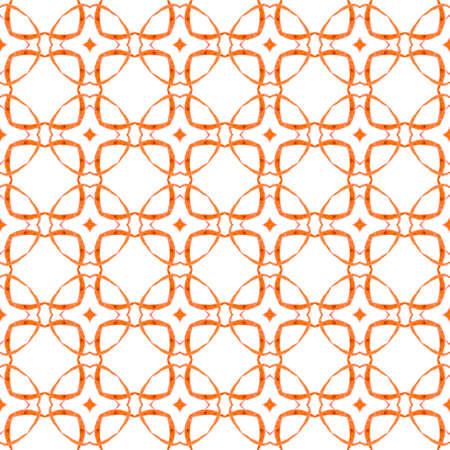 Textile ready fine print, swimwear fabric, wallpaper, wrapping. Orange magnetic boho chic summer design. Ikat repeating swimwear design. Watercolor ikat repeating tile border.