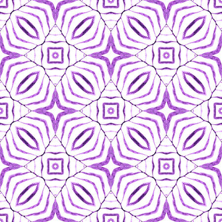 Watercolor medallion seamless border. Purple elegant boho chic summer design. Medallion seamless pattern. Textile ready divine print, swimwear fabric, wallpaper, wrapping.