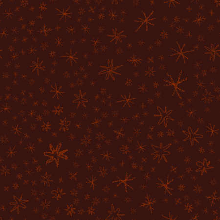 Hand Drawn red Snowflakes Christmas Seamless Pattern. Subtle Flying Snow Flakes on wine red Background. Stylish chalk handdrawn snow overlay. Interesting vector illustration.