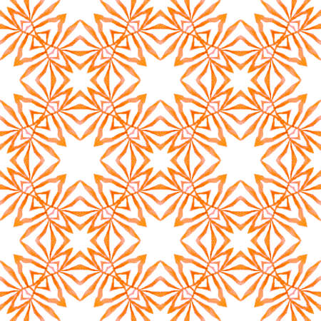 Textile ready appealing print, swimwear fabric, wallpaper, wrapping.  Orange astonishing boho chic summer design. Watercolor summer ethnic border pattern. Ethnic hand painted  pattern.