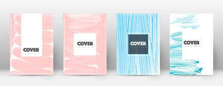 Cover page design template. Hipster brochure layout. Brilliant trendy abstract cover page. Pink and blue grunge texture background. Tempting poster.