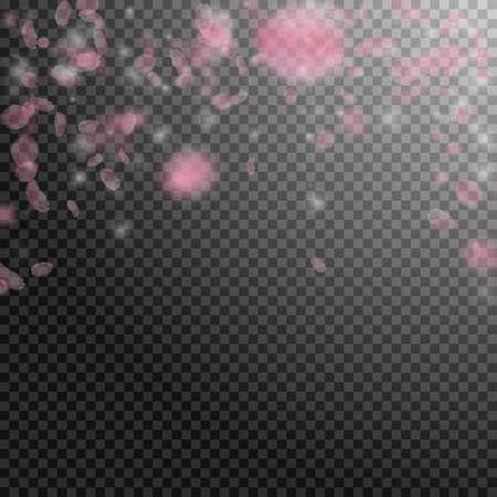 Sakura petals falling down. Romantic pink flowers falling rain. Flying petals on transparent square background. Love, romance concept. Marvelous wedding invitation.