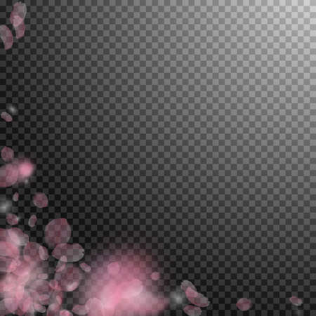 Sakura petals falling down. Romantic pink flowers corner. Flying petals on transparent square background. Love, romance concept. Uncommon wedding invitation.