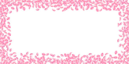 Sakura petals falling down. Romantic pink bright medium flowers. Thick flying cherry petals. Wide scattered frame worthy vector background. Love, affection, romance concept.