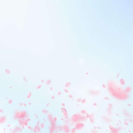 Sakura petals falling down. Romantic pink flowers gradient. Flying petals on blue sky square background. Love, romance concept. Stylish wedding invitation.