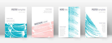 Cover page design template. Geometric brochure layout. Bold trendy abstract cover page. Pink and blue grunge texture background. Splendid poster. Ilustrace