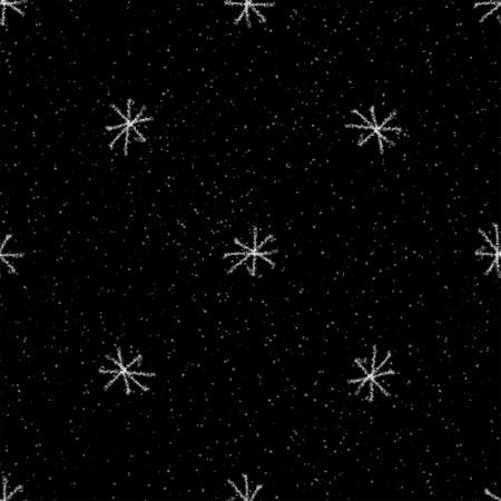 Hand Drawn white Snowflakes Christmas Seamless Pattern. Subtle Flying Snow Flakes on black Background. Surprising chalk handdrawn snow overlay. Curious vector illustration. Stock Photo