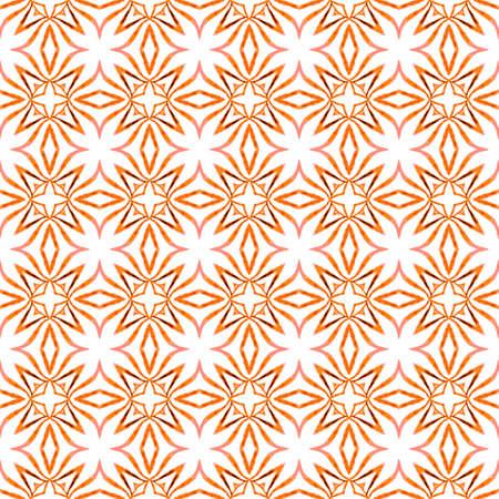 Textile ready energetic print, swimwear fabric, wallpaper, wrapping. Orange ravishing boho chic summer design. Watercolor ikat repeating tile border. Ikat repeating swimwear design.