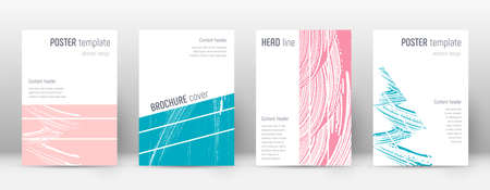 Cover page design template. Geometric brochure layout. Bold trendy abstract cover page. Pink and blue grunge texture background. Good-looking poster. 矢量图像