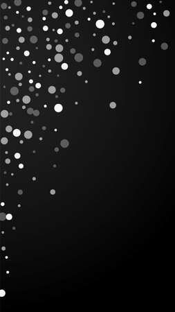 White dots Christmas background. Subtle flying snow flakes and stars on black background. Alive winter silver snowflake overlay template. Optimal vertical illustration.