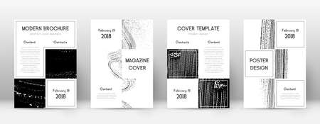Cover page design template. Business brochure layout. Beautiful trendy abstract cover page. Black and white grunge texture background. Imaginative poster.