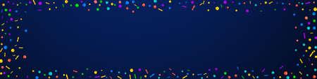 Festive magnetic confetti. Celebration stars. Festive confetti on dark blue background. Alive festive overlay template. Panoramic vector background.