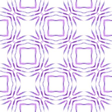 Textile ready elegant print, swimwear fabric, wallpaper, wrapping.  Purple exotic boho chic summer design. Ikat repeating  swimwear design. Watercolor ikat repeating tile border.