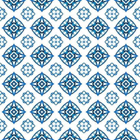 Organic tile. Blue memorable boho chic summer design. Textile ready classy print, swimwear fabric, wallpaper, wrapping.  Trendy organic green border. 版權商用圖片