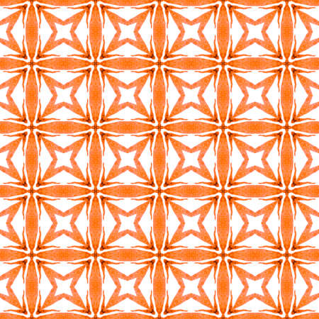 Watercolor ikat repeating tile border. Orange outstanding boho chic summer design. Textile ready fancy print, swimwear fabric, wallpaper, wrapping.  Ikat repeating  swimwear design. 版權商用圖片