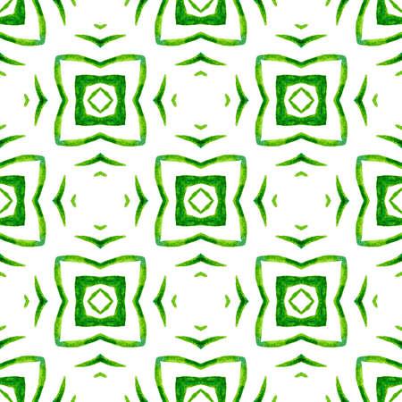 Hand drawn tropical seamless border.  Green mesmeric boho chic summer design. Textile ready cute print, swimwear fabric, wallpaper, wrapping.  Tropical seamless pattern.