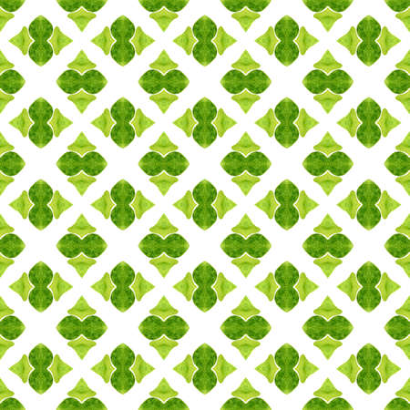 Watercolor ikat repeating tile border. Green shapely boho chic summer design. Textile ready fantastic print, swimwear fabric, wallpaper, wrapping.  Ikat repeating  swimwear design. 版權商用圖片