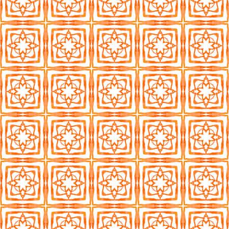 Textile ready likable print, swimwear fabric, wallpaper, wrapping.  Orange dazzling boho chic summer design. Hand drawn green mosaic seamless border. Mosaic seamless pattern.