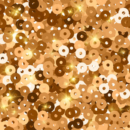 Glitter seamless texture. Admirable red gold particles. Endless pattern made of sparkling sequins.