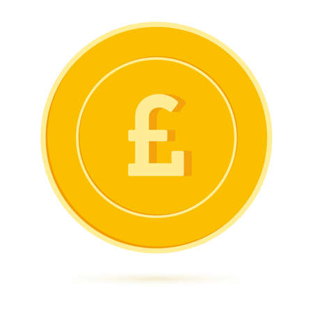 British pound coin isolated on white background. GBP yellow gold coin. United Kingdom metal money.