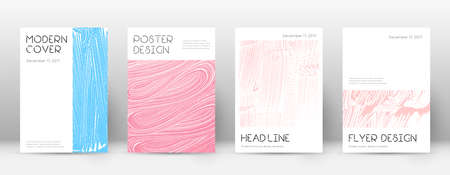 Cover page design template. Minimal brochure layout. Charming trendy abstract cover page. Pink and blue grunge texture background. Worthy poster.