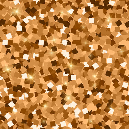 Glitter seamless texture. Adorable red gold particles. Endless pattern made of sparkling squares. Exceptional abstract vector illustration.