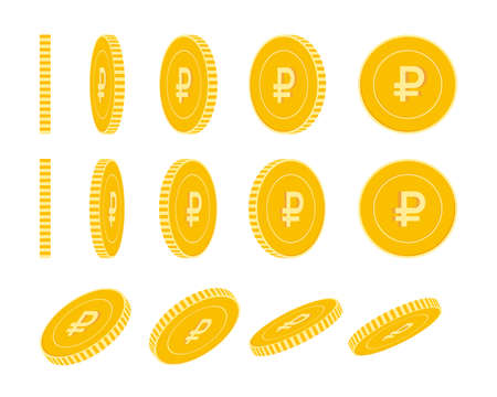 Russian ruble coins set, animation ready. RUB yellow coins rotation. Russia metal money in different positions isolated. Favorable cartoon vector illustration.