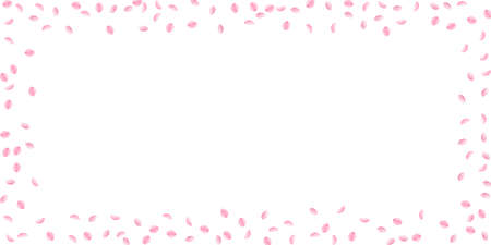 Sakura petals falling down. Romantic pink silky small flowers. Sparse flying cherry petals. Wide scattered frame alive vector background. Love, affection, romance concept.