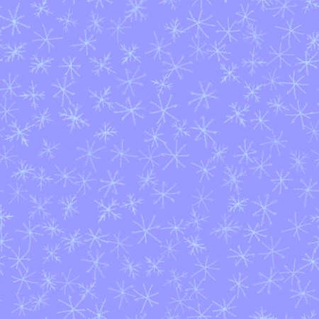 Hand Drawn white Snowflakes Christmas Seamless Pattern. Subtle Flying Snow Flakes on blue Background. Symmetrical chalk handdrawn snow overlay. Resplendent vector illustration.