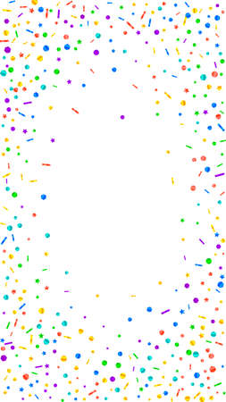 Festive memorable confetti. Celebration stars. Festive confetti on white background. Fascinating festive overlay template. Vertical vector background.