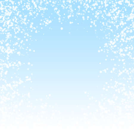 Amazing falling snow Christmas background. Subtle flying snow flakes and stars on winter sky background. Awesome winter silver snowflake overlay template. Worthy vector illustration.