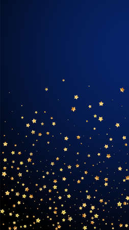 Gold stars random luxury sparkling confetti. Scattered small gold particles on dark blue background. Energetic festive overlay template. Appealing vector background.