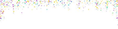 Festive brilliant confetti. Celebration stars. Bright confetti on white background. Alive festive overlay template. Panoramic vector background.