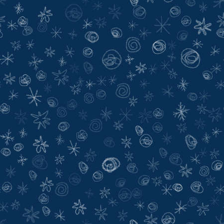 Hand Drawn white Snowflakes Christmas Seamless Pattern. Subtle Flying Snow Flakes on blue Background. Symmetrical chalk handdrawn snow overlay. Imaginative vector illustration. Фото со стока