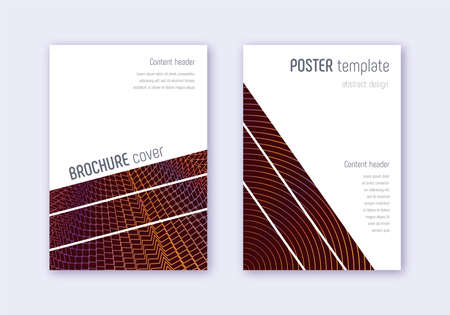 Geometric cover design template set. Orange abstract lines on wine red background. Brilliant cover design. Astonishing catalog, poster, book template etc.