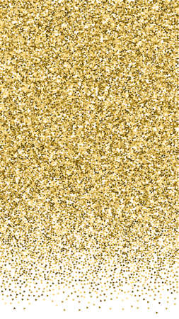 Gold triangles glitter luxury sparkling confetti. Scattered small gold particles on white background. Energetic festive overlay template. Magnetic vector background.