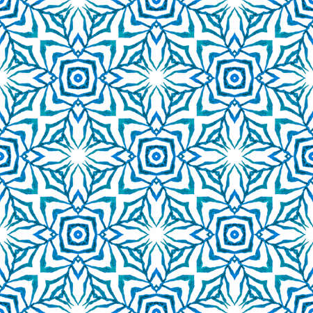 Watercolor medallion seamless border. Blue mesmeric boho chic summer design. Textile ready wonderful print, swimwear fabric, wallpaper, wrapping.  Medallion seamless pattern.