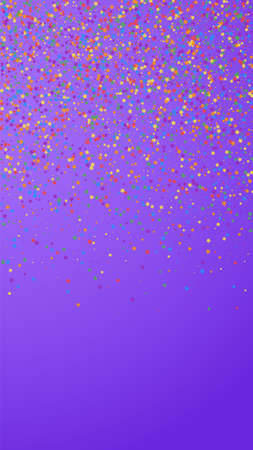 Festive positive confetti. Celebration stars. Childish bright stars on violet background. Grand festive overlay template. Vertical vector background.